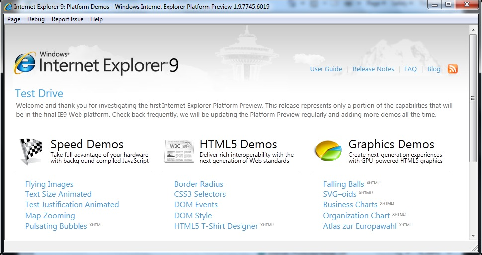 Internet Explorer 9 - Screenshot