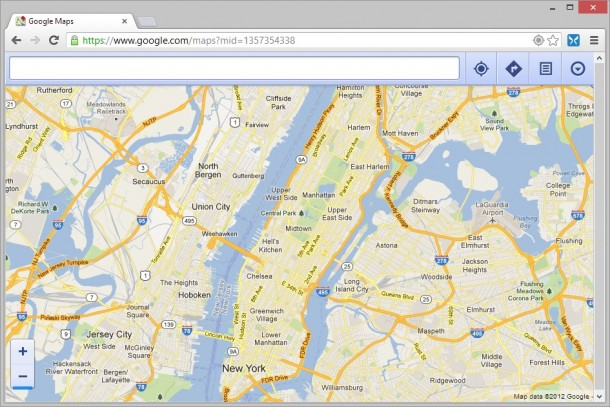 Google Maps in Chrome set to Android User Agent String
