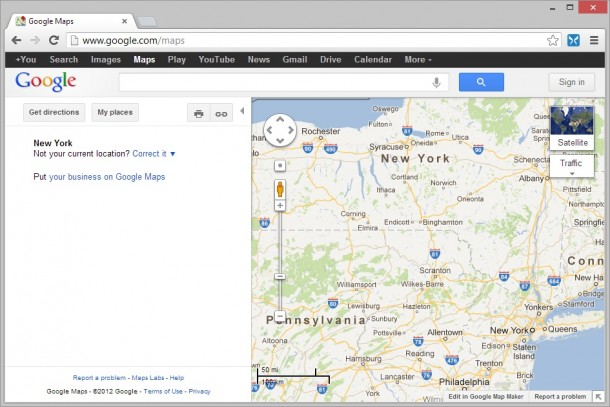 Google Maps in Chrome set to Windows RT User Agent String