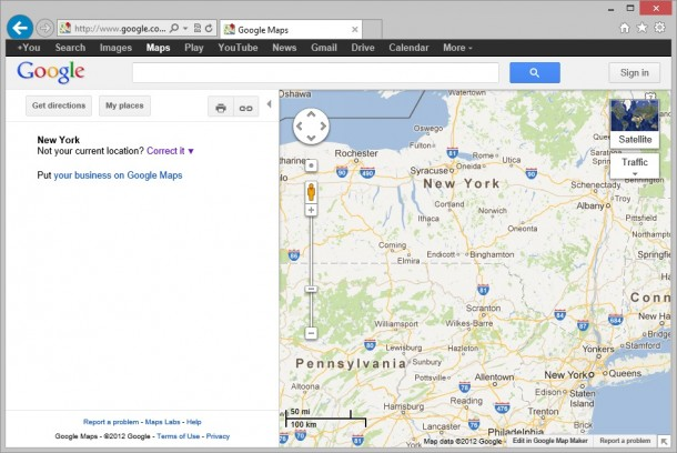 Google Maps in IE10 on Windows 8