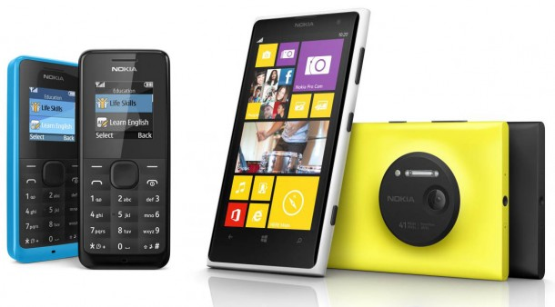 Nokia's phones span the gamut from the $20 Nokia 105 to the flagship, 41-megapixel-camera-toting Lumia 1020
